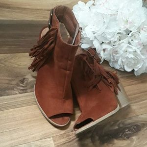 Charlotte Russe Faux leather Fringe  Bootie